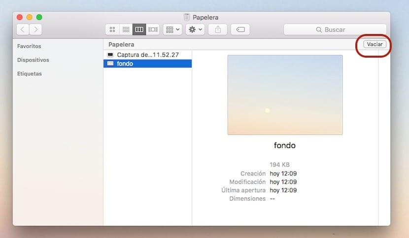 Botón para vaciar la papelera en Mac