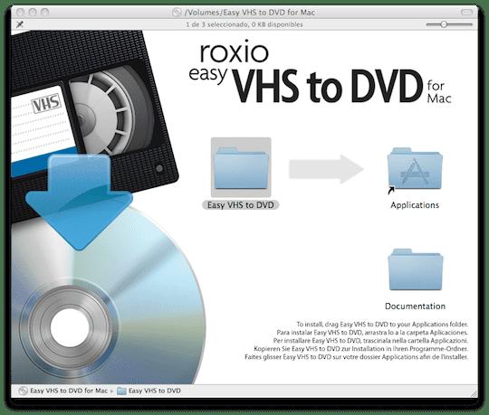 Instalación de Roxio VHS to DVD for Mac