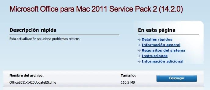Microsoft Office 2011 SP2 ya disponible para Mac