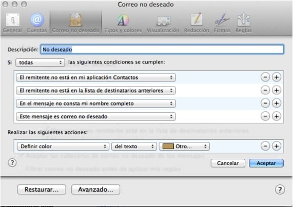 PROPIEDADES MAIL SPAM 2. Pantalla de configuración de filtros.