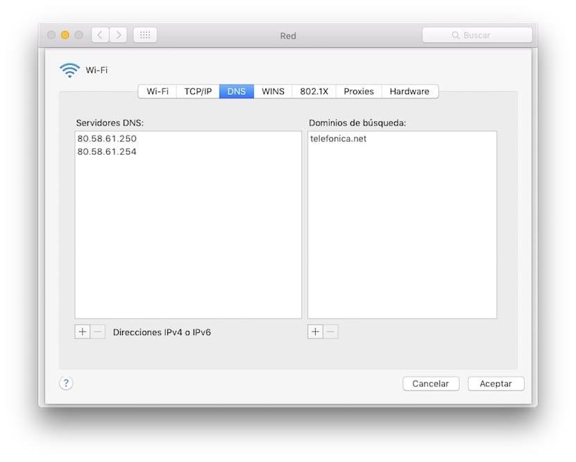 Cambiar DNS en Mac