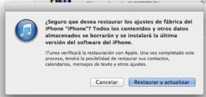 iPhone en modo restauración