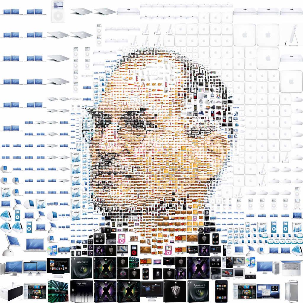 Steve Jobs mostrado a partir de sus productos