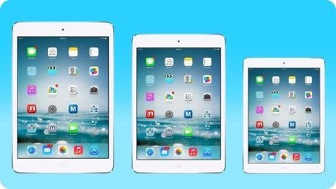 Los posibles tres tamaños del iPad