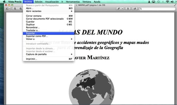 MENU EXPORTAR PDF
