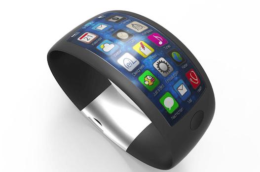 Concepto de iWatch con pantalla curva y sensores integrados