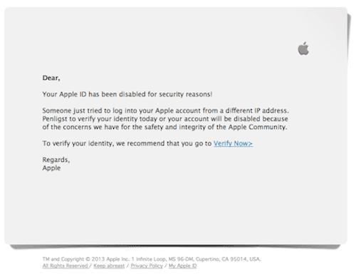 Imagen del falso email supuestamente enviado por Apple
