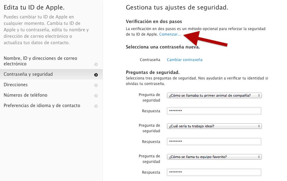 Verificación en dos pasos Apple ID