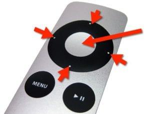 Apple Remote. Botón de selección (central) y botones de desplazamiento.