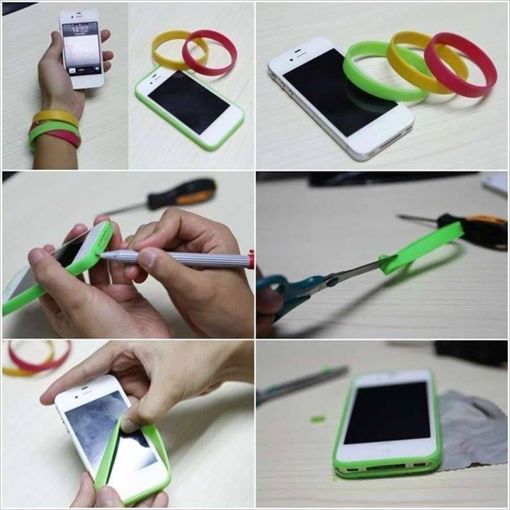 Bumper para iPhone hecho con una pulsera de silicona