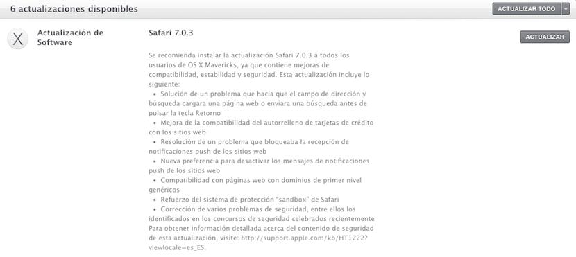 Aviso de actualización de Safari