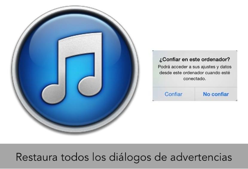 Reinicia los cuadros de diálogos de advertencias en iTunes