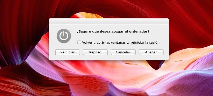 Captura de mensaje tecla apagado