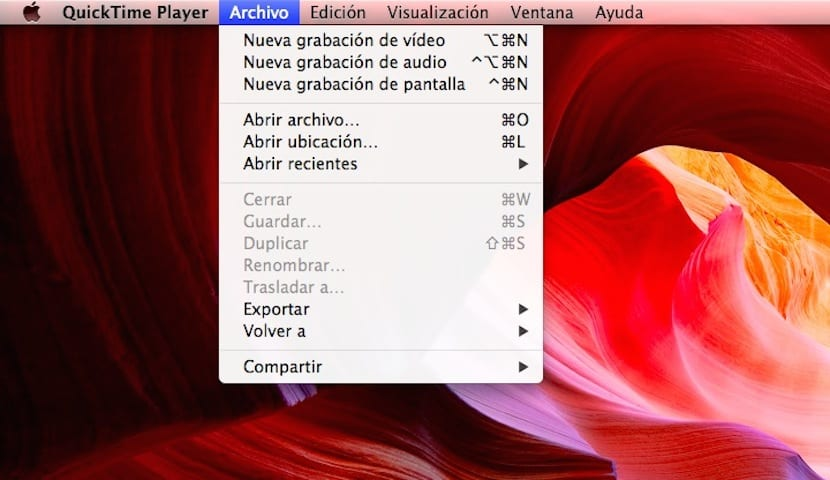 Desplegable de menú Quicktime Player