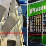 Una maqueta del iPhone 6 y algunas fundas aparecen en una feria de Hong Kong