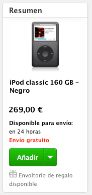iPod Classic Negro El iPod Classic comienza a escasear