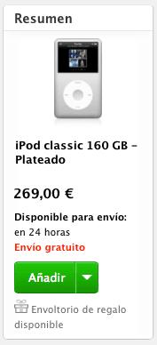 iPod Classic Plata El iPod Classic comienza a escasear