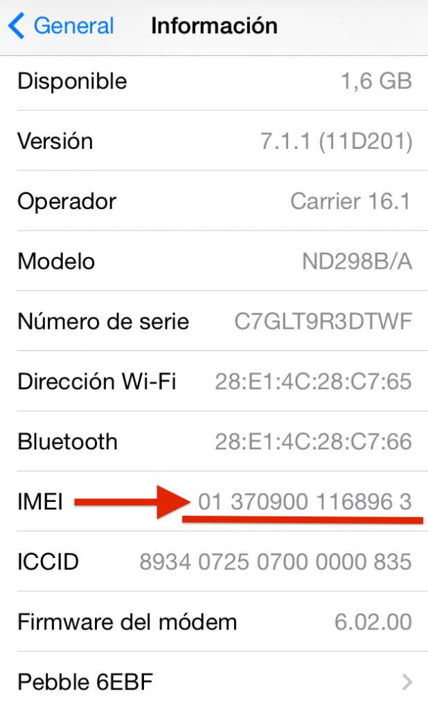 Consultando imei iPhone a través de ajustes