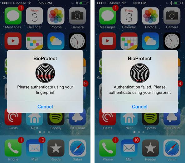 BioProtect tweak de Cydia que aporta funciones de iOS 8