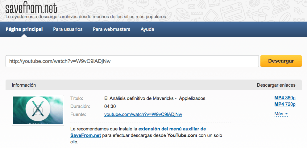 Descargar videos de YouTube 3