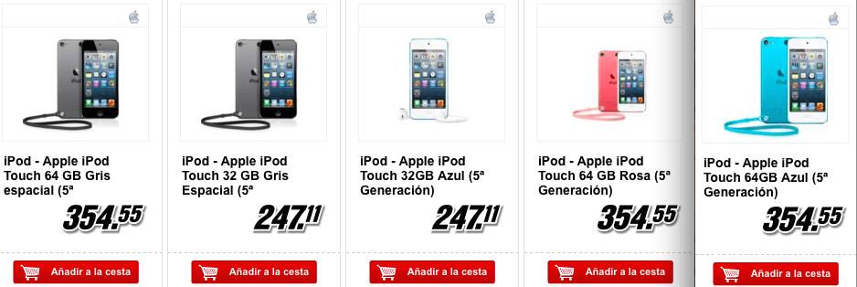 El iPod Touch en MediaMarkt es más caso tras aplicarle el Dia sin IVA que a precio normal en Apple