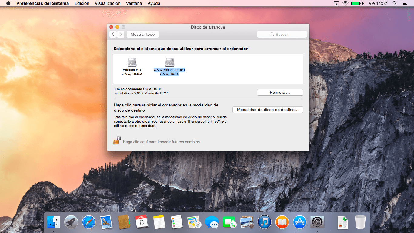 OS X Yosemite DP1 instalado