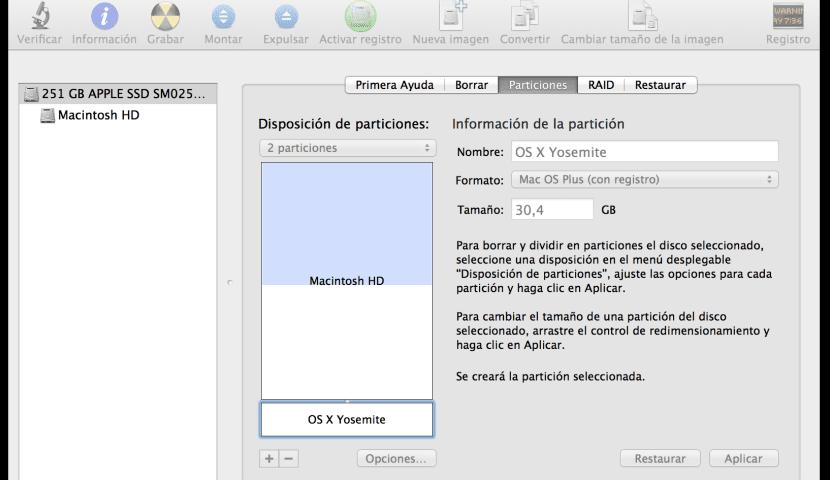 Partición en Mac para instalar OS X Yosemite DP1