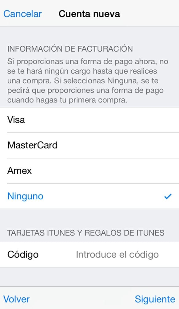 Crear Apple ID sin tarjeta de crédito