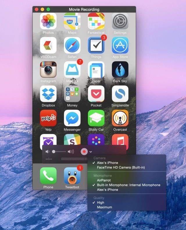 Graba la pantalla iOS desde QuickTime