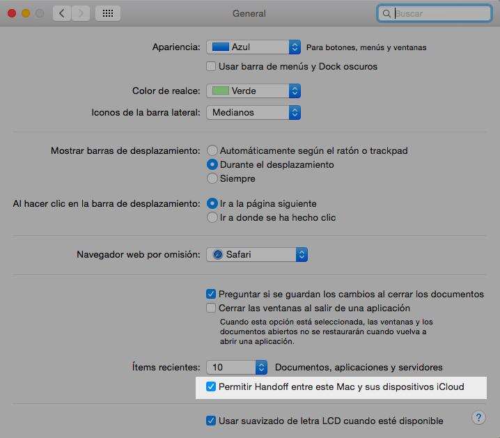 Handoff en OS X Yosemite