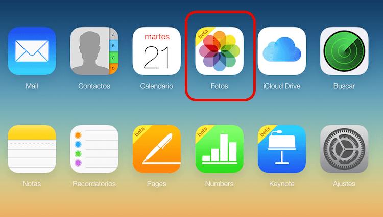 iCloud Photo Library en sitio web de iCloud