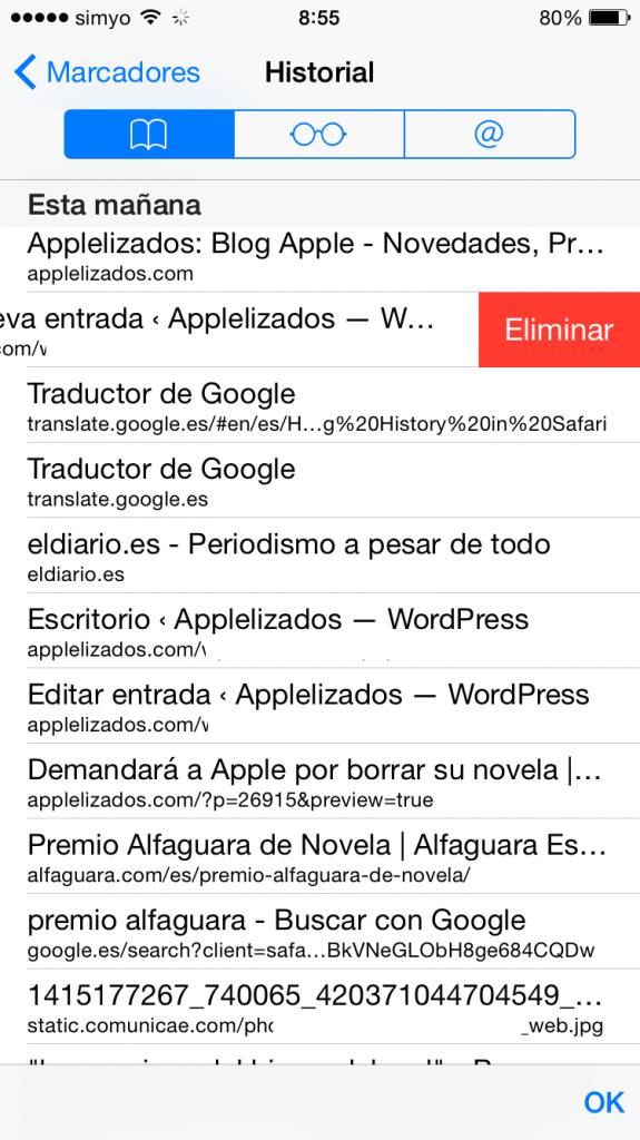 Cómo borrar de forma selectiva tu historial de navegación en Safari con iOS 8 5