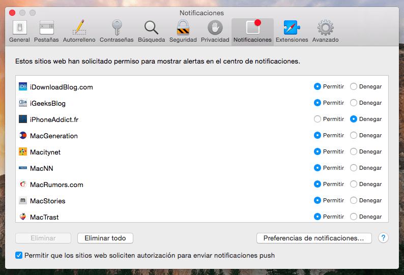 Cómo gestionar las notificaciones de Safari en OS X Yosemite