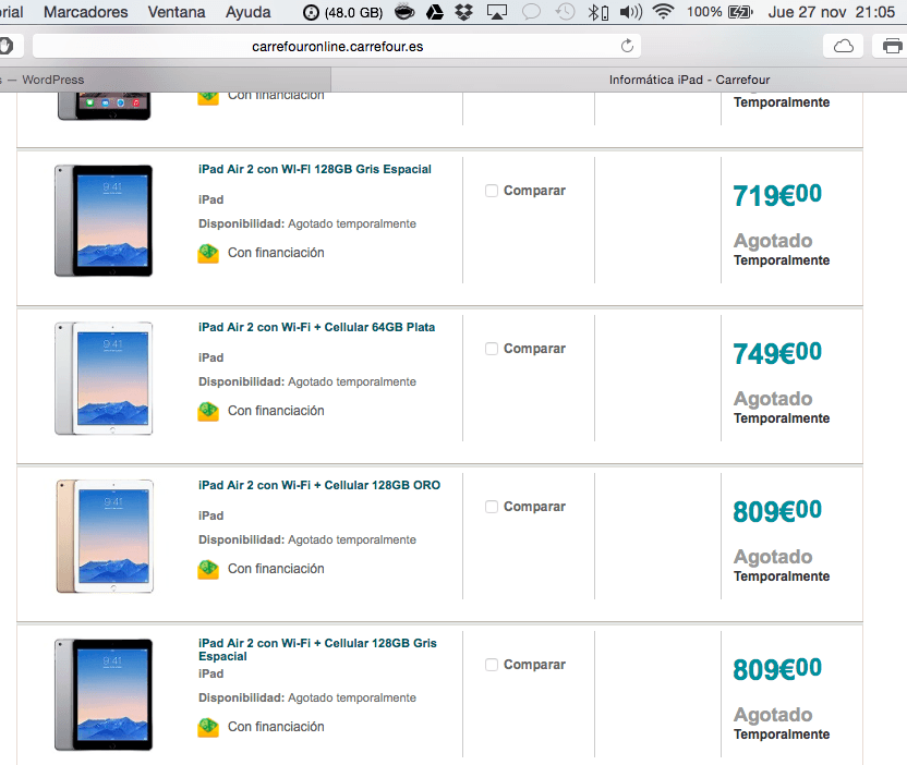 iPad agotados en Carrefour antes de arrancar la oferta Black Friday
