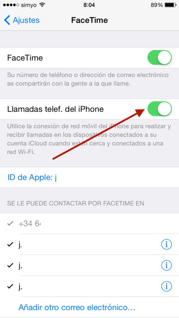 Ajustes FaceTime iPhone