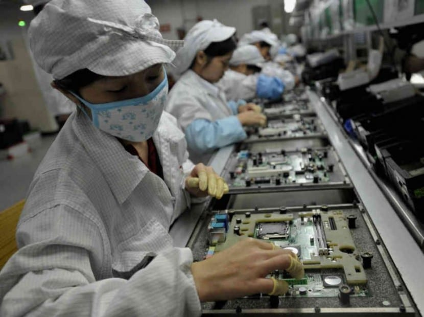 Trabajadores en Foxconn