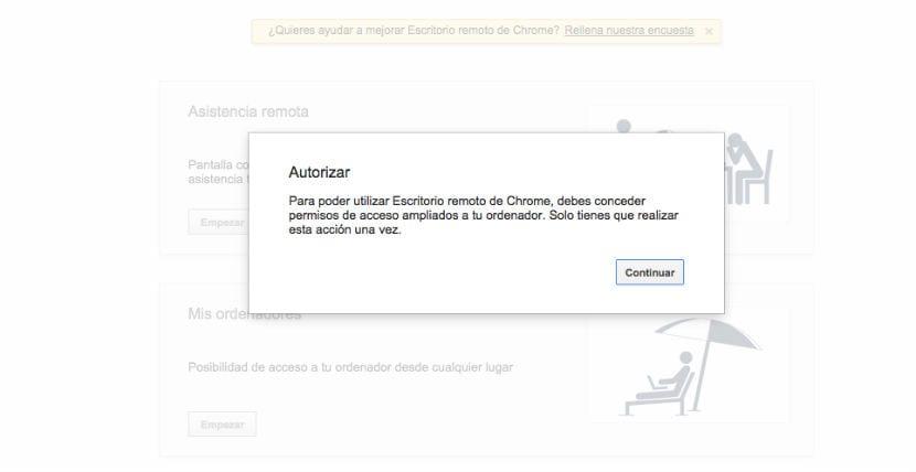 Chrome Remote Desktop autorizacion