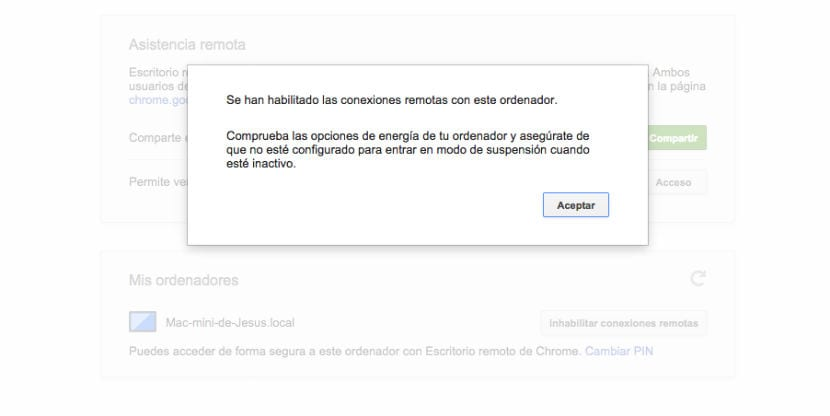Chrome Remote Desktop habilitado