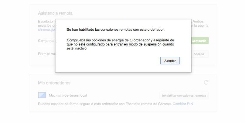 Chrome Remote Desktop habilitado