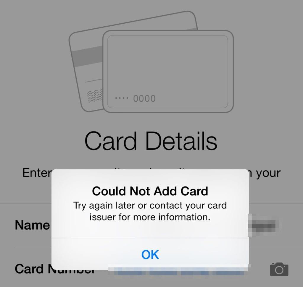 Mensaje de error al tratar de agregar de nuevo las tarjetas a Apple Pay tras la restauración del iPhone 6