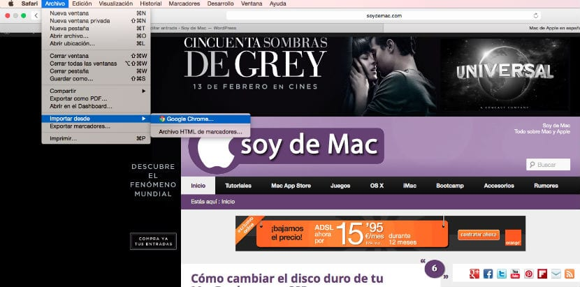 exportar marcadores Chrome a Safari Mac