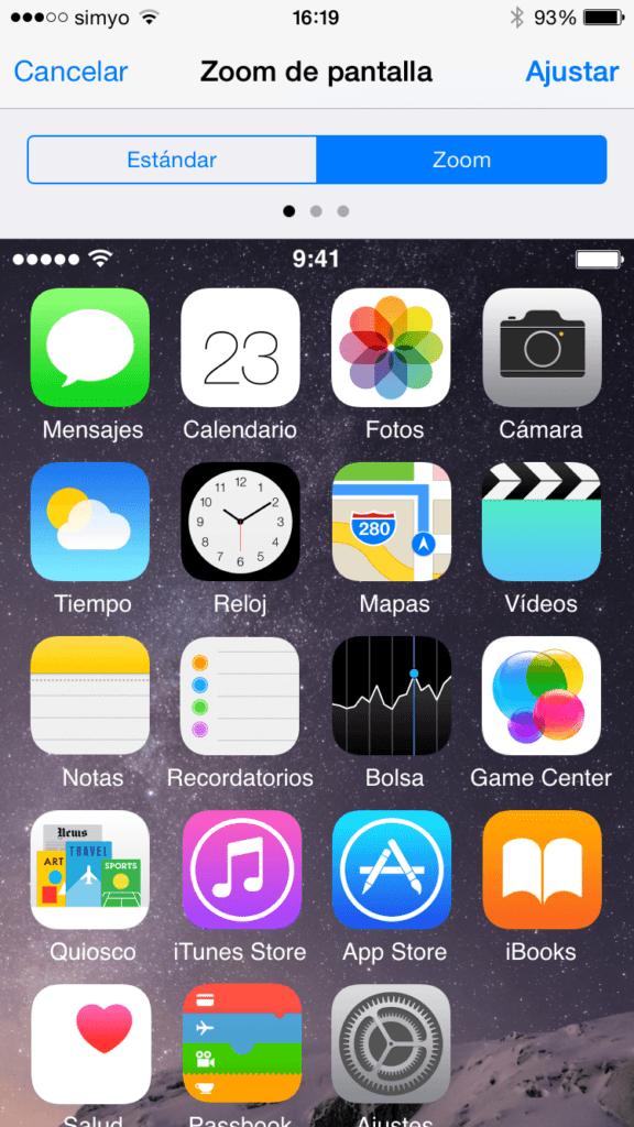 Cómo ampliar la visualización de la pantalla en los iPhone 6 y 6 Plus