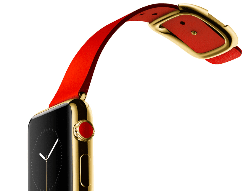 Apple Watch Edition con caja de 38 mm en oro de 18 quilates y correa en color rojo brillante con hebilla moderna