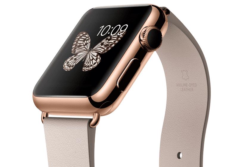 Apple Watch Edition con caja de 38 mm en oro rosa de 18 quilates y correa gris rosado con hebilla moderna