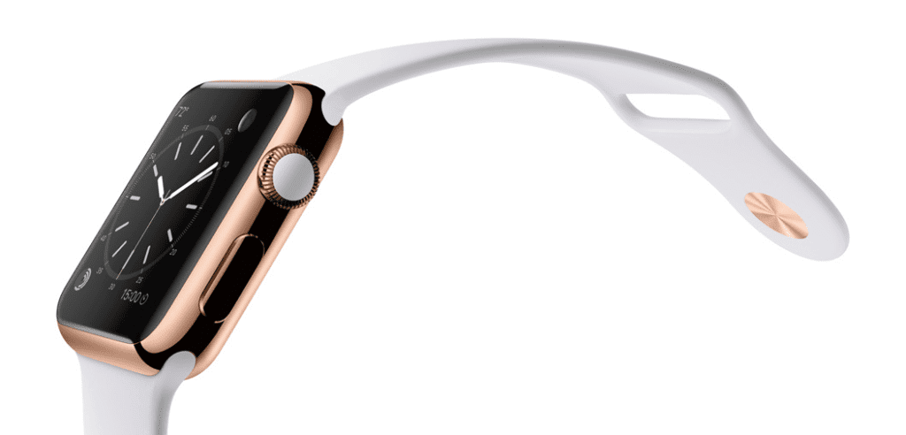 Apple Watch Edition con caja de 38 o 42 mmmm en oro rosa de 18 quilates y correa deportiva de fluorolastómero en color blanco