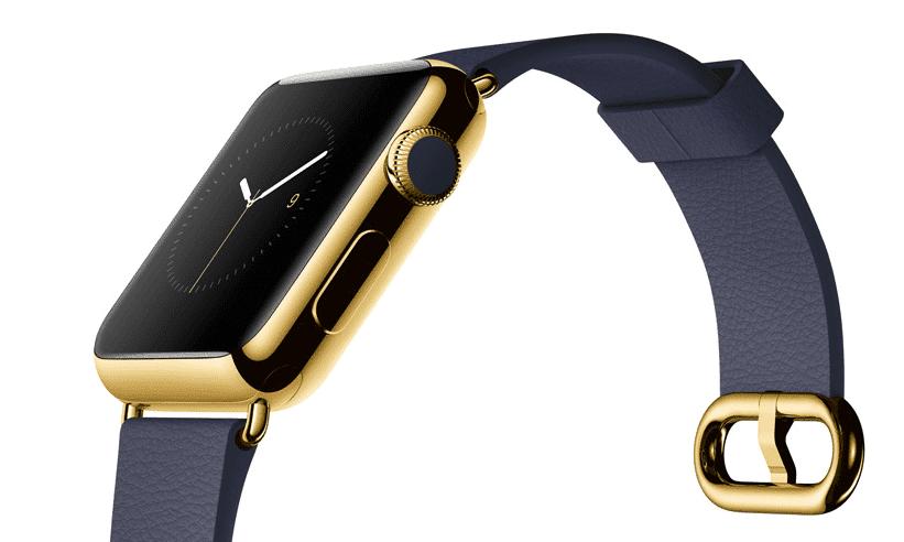 Apple Watch Edition con caja de 42 mm en oro de 18 quilates y correa de piel en color azul noche con hebilla clásica