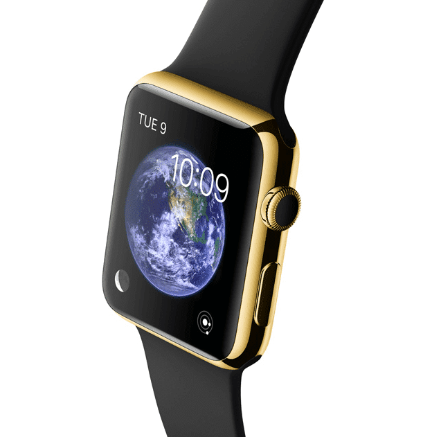 Apple Watch Edition con caja de 42 mm en oro de 18 quilates y correa deportiva negra