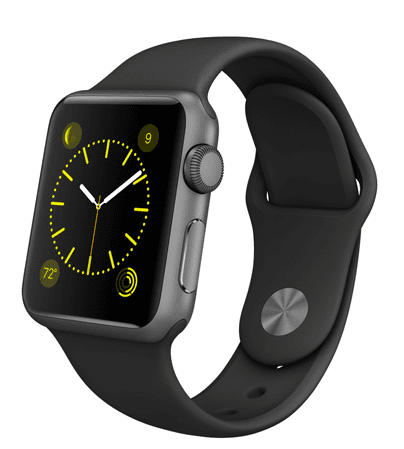 Apple Watch Sport con caja de 38 mm en aluminio color gris espacial y correa deportiva de fluoroelastómero en color negro
