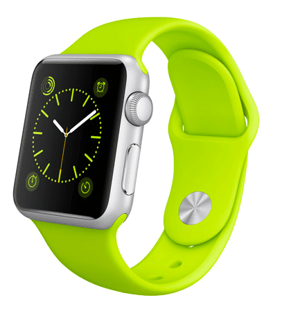Apple Watch Sport con caja de 38 mm en aluminio color plata y correa deportiva de fluoroelastómero en color verde
