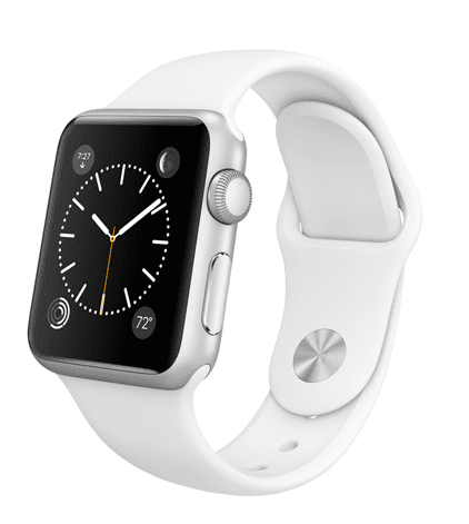 Apple Watch Sport con caja de 38mm en aluminio color plata y correa deportiva de fluoroelastómero en color blanco